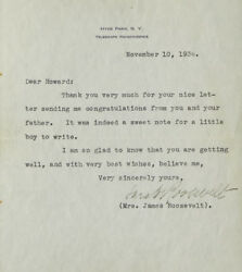 Typed Note Signed Sara Roosevelt On Hyde Park Letterhead From Fdr's Mother 1941