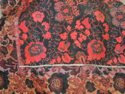 Antique Tapestry 24quot; x 24quot; hand woven black red floral Art doily table cover