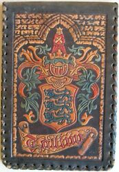 1930s Estonia Vintage Handcrafted Leather Holder For Money Art Work In Colours