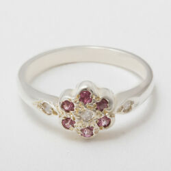 Solid 14ct White Gold Natural Diamond And Pink Tourmaline Womens Daisy Ring