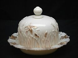 Old Vintage Opaque Milk Glass Covered Round Butter Dish W Gold Floral Designs