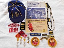 Rare 1940and039s-1950and039s Cub Scout Memorabilia W/ Felt Patches Cap Pins Jubileeetc