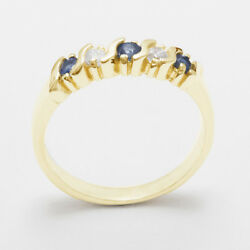 18ct Yellow Gold Natural Sapphire And Diamond Ladies Eternity Ring - Sizes J To Z