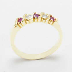 18ct 750 Yellow Gold Natural Ruby And Diamond Womens Eternity Ring - Sizes J To Z