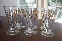 6 Mid-century Kahlua Party Glass Atomic Pattern In Gold