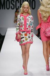 Moschino Couture Runway Nwt Paper Doll Print Suit It40 - Collectible