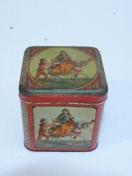 Rare Antique Litho Tin Candy Box Marked F.d.