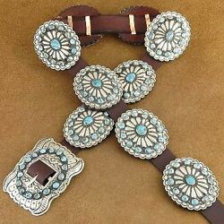 Navajo Old Style Turquoise Stamped Silver Concho Belt Native American Vblackgoat