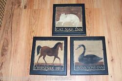 Lodge Wall Decor Signs Cat Horse Swan Rustic Vintage Inns Wood Folk Art Pictures