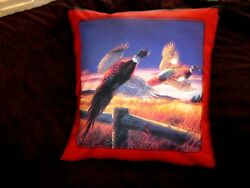 Pheasants In Flight Right Facing Pillow Cover
