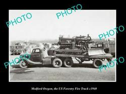 Old Large Historic Photo Medford Oregon The Us Forestry Fire Truck C1940