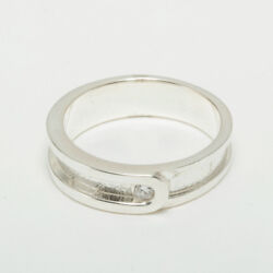 18ct 750 White Gold Cubic Zirconia Mens Band Ring - Sizes N To Z