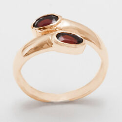 Solid 18ct 750 Rose Gold Natural Garnet Womens Band Ring - Sizes J to Z