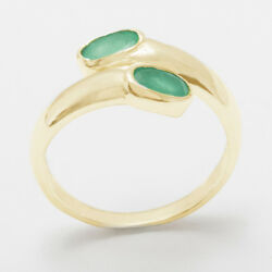 Solid 18ct 750 Yellow Gold Natural Emerald Womens Band Ring - Sizes J To Z