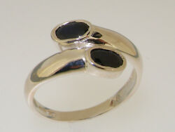 Solid 18ct 750 White Gold Natural Sapphire Womens Band Ring - Sizes J to Z