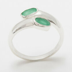 Solid 18ct 750 White Gold Natural Emerald Womens Band Ring - Sizes J to Z