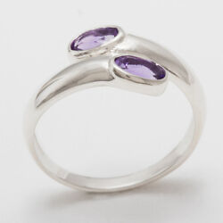 Solid 18ct 750 White Gold Natural Amethyst Womens Band Ring - Sizes J to Z