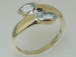 Solid 18ct 750 White Gold Natural Aquamarine Womens Band Ring -