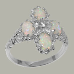 14ct White Gold Natural Diamond And Opal Womens Cluster Ring - Sizes J To Z