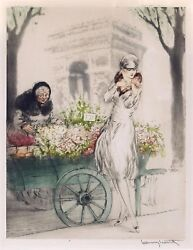 Louis Icart, Flower Seller - Hand Signed Etching With Watercolor