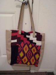 Anthropologie Jasper And Jeera Leather/fabric Tote Purse Shop Embroidered Beaded