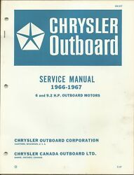 Chrysler Outboard Marine 1966-1967 Service Manual 6 And 9.2 Hp Motors Ob 977