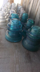 Antique Clear And Blue Glass Insulators Chip Lot Of 23 Hemingray 42 45 Made In Usa