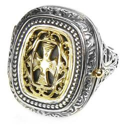 Gerochristo 2601 Solid Gold And Silver Medieval Byzantine Cross Poison Ring