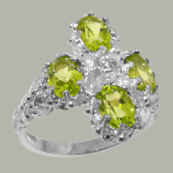 18ct 750 White Gold Cubic Zirconia And Peridot Womens Cluster Ring - Sizes J To Z