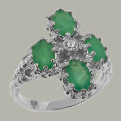 18ct 750 White Gold Natural Diamond & Emerald Womens Cluster Ring - Sizes J to Z