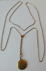 Victorian Gold Filled Watch Slide Chain Necklace With Locket M31