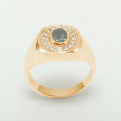 14ct Rose Gold Natural Hematite Intaglio And Cz Mens Signet Ring - Sizes N To Z
