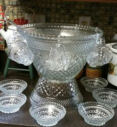 Anchor Hocking Wexford Punch Bowl Stand Cups Hooks Bowls And Ladle