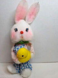Vintage Easter Bunny Rabbit Holding Baby Chick 7 1/2h