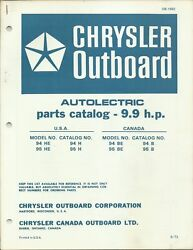 Chrysler Outboard Boat 9.9 Hp Model 94he 95he 94be 95be Parts Catalog Ob 1682