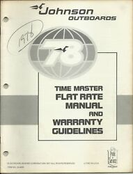 Johnson Outboards 1978 Time Master Flat Rate Manual And Warranty P/n Js-4430