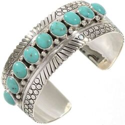 Navajo Turquoise Row Bracelet 9 Stone Sterling Silver Cuff By T Ahasteen S6.5-7
