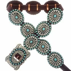 Navajo Turquoise Concho Belt Old Pawn Santa Fe Style Lrg Stamped Antiqued Silver
