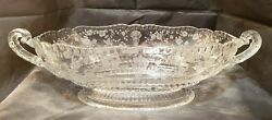Cambridge Glass Oval Handled Footed Bowl Rose Point Clear 4 1/2 By 16 By 7
