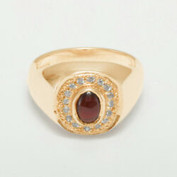 14ct Rose Gold Natural Garnet And Cubic Zirconia Mens Signet Ring - Sizes N To Z