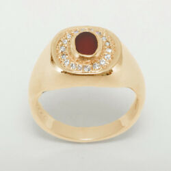 18ct 750 Rose Gold Natural Carnelian And Diamond Mens Signet Ring - Sizes N To Z