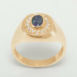 14ct Rose Gold Opal Triplet And Cubic Zirconia Mens Signet Ring - Sizes N To Z