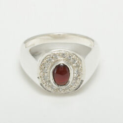 14ct White Gold Natural Garnet And Cubic Zirconia Mens Signet Ring - Sizes N To Z