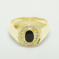 9ct Yellow Gold Natural Onyx And Diamond Mens Signet Ring - Sizes N To Z