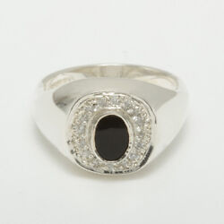 9ct White Gold Natural Onyx And Cubic Zirconia Mens Signet Ring - Sizes N To Z