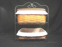 Longaberger Wrought Iron Two Tier Paper Tray With Lid And Liners 18961
