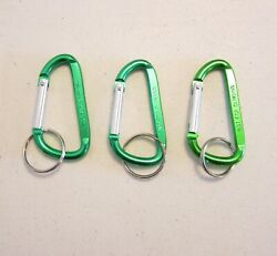 3 NEW GREEN CARABINER SPRING CLIP KEYCHAINS BELT BACKPACK KEY RING CHAIN 3
