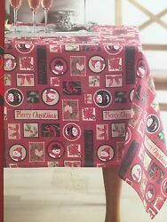 New St Nicholas Square 60 X 102 Fabric Oblong Tablecloth Traditional Christmas