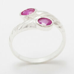 High Quality 18ct 750 White Gold Natural Ruby Womens Band Ring - Sizes J To Z