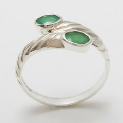High Quality 18ct 750 White Gold Natural Emerald Womens Band Ring - Sizes J To Z